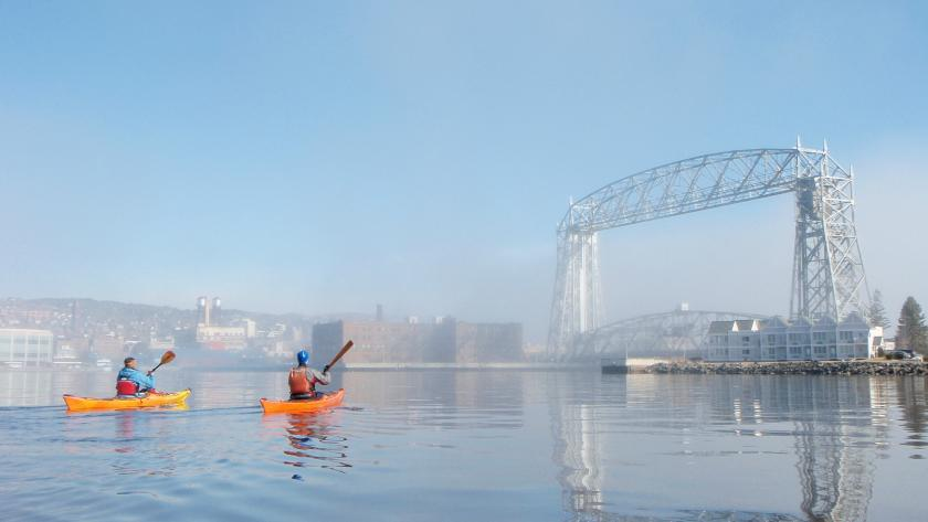 Kayakers on Duluth Harbor