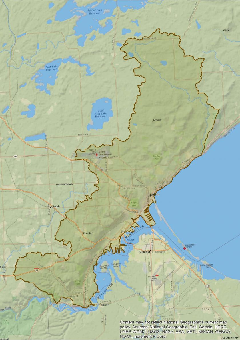 Map of Duluth Urban watershed