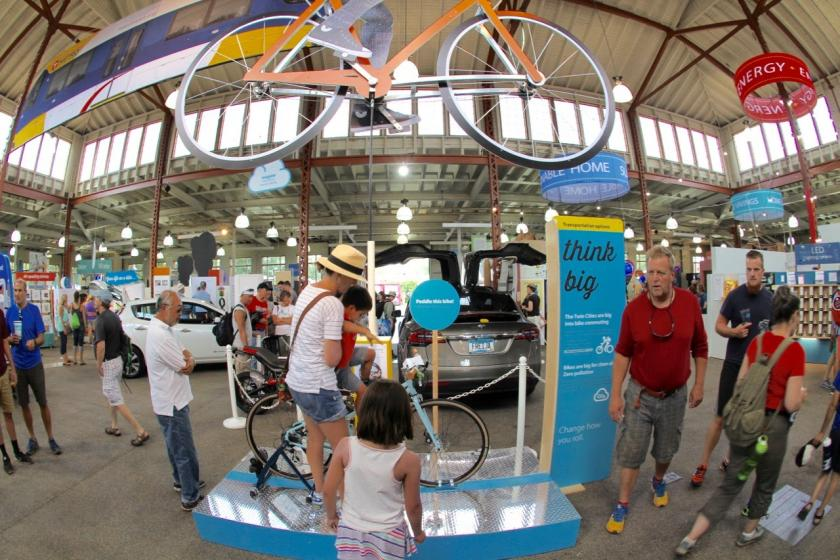 Climb aboard and pedal the giant bike
