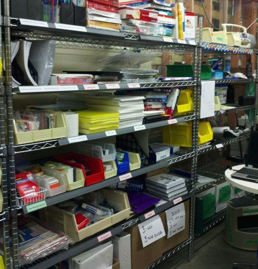 Fairview-Reuse-Store with shelves of used office supplies