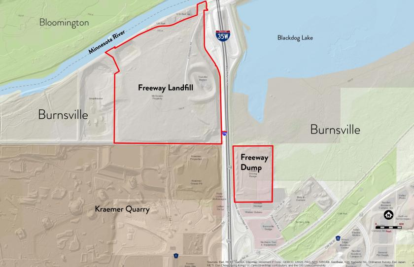 Map showing locations of the Freeway landfill and dump in Burnsville just south of the Minnesota River