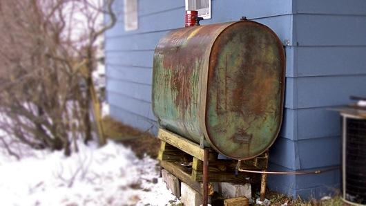 Fuel-oil-tank-next to residential-home