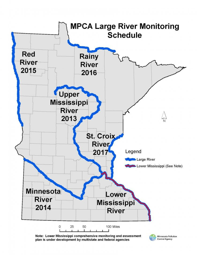 Large River Monitoring Minnesota Pollution Control Agency - Mn on us map