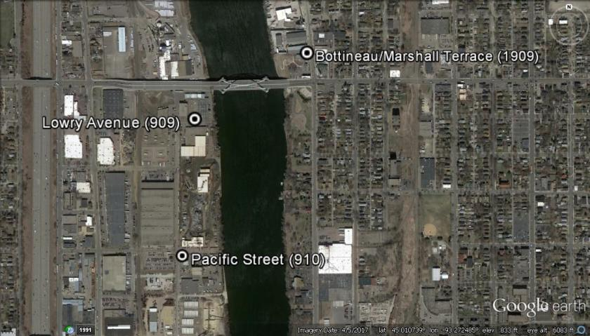 Aerial map of North Minneapolis at Lowry Avenue over the Mississippi River