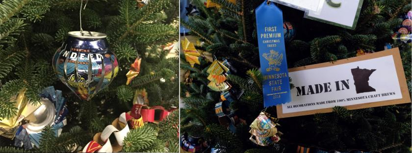 Blue ribbon winner ornaments made out of cans
