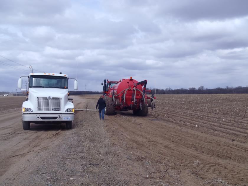 Biosolids from St. Cloud being transferred to a field applicator.