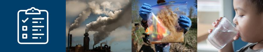 Collage of images showing smoke stacks, a person showing a soil sample to the camera, a child drinking water