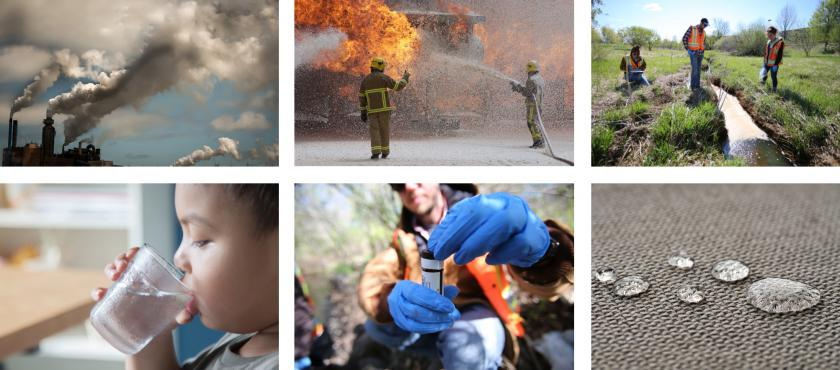 Collage of images with PFAS sources like fire-fighting foam and stain-resistant fabric