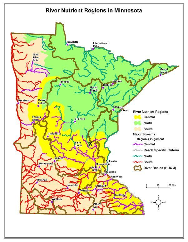 River map of Minnesota