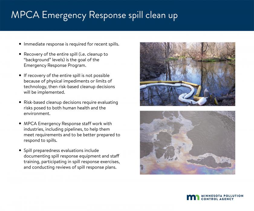 Recovery of the entire spill is the goal of the MPCA Emergency Response Program. If recovery of the entire spill isn't possible, then risk-based cleanup decisions will be implemented that evaluate risks posed to human health and the environment.
