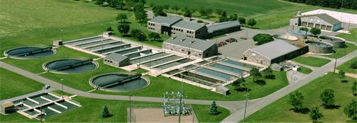 Aerial view of St. Cloud wastewater treatment plant