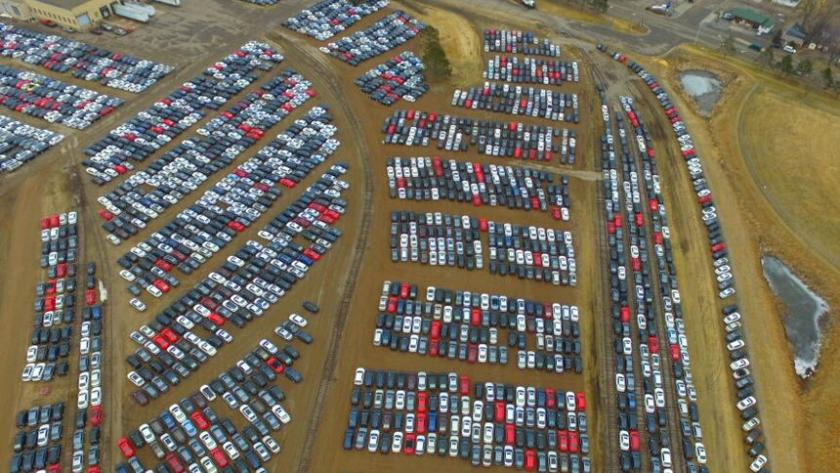 aerial view of VW cars stored