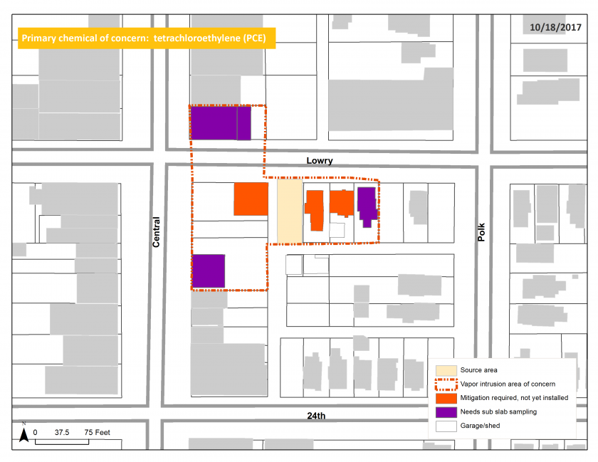 Map of the former Waldorf Cleaners vapor intrusion site
