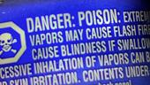 product label with danger, poison words