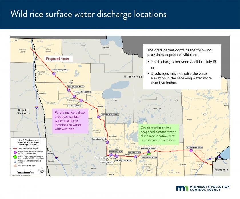 Map shows proposed surface water discharge locations to water with wild rice: Middle River, Red Lake River, Clearwater River (2 locations), Lost River, Island Lake, Shell River (3 locations), Crow Wing River, Pine River, Lake George, and St Louis River.