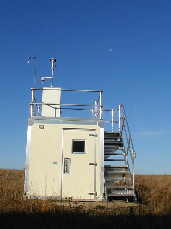 Air monitoring equipment in field.