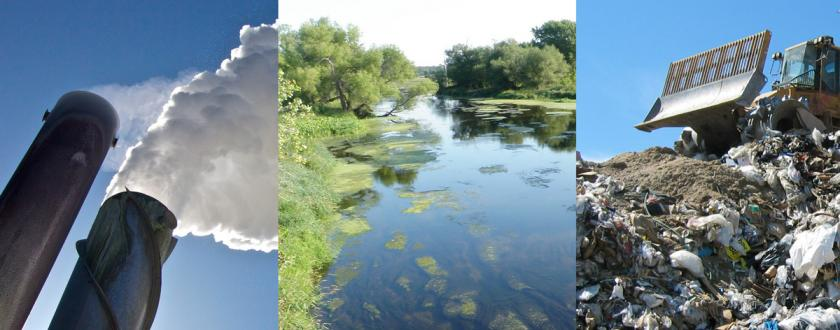 Collage of 3 photos. First photo is of stack with steam coming out of it. Second photo is a calm river with algae growth. Third photo is a bulldozer on top of a pile of garbage in a landfill.