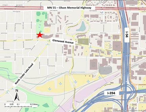 Map of Minneapolis Harrison air monitoring site