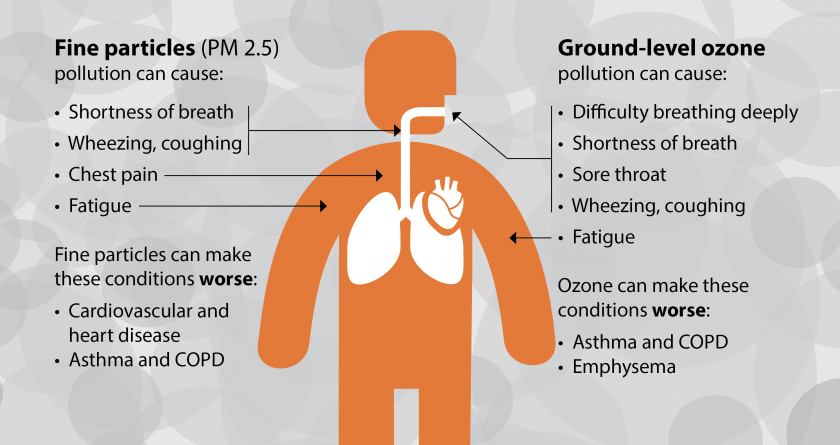Graphic showing health effects of fine particle air pollution and ground level ozone on the human body, such as shortness of breath, wheezing, coughing, fatigue, worsening asthma, COPD, and heart disease.