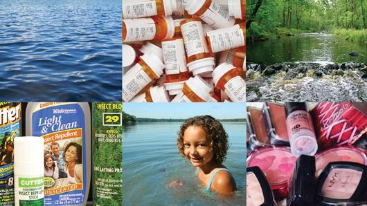 Water, medications, insect repellent, stream, cosmetics, girl swimming
