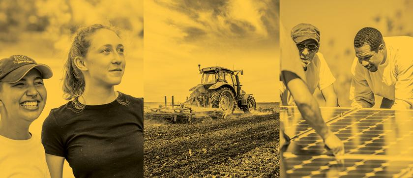 Montage of photos. Left image is two young women looking into distance. Middle image is a tractor plowing a field. Right image is men installing a solar panel.
