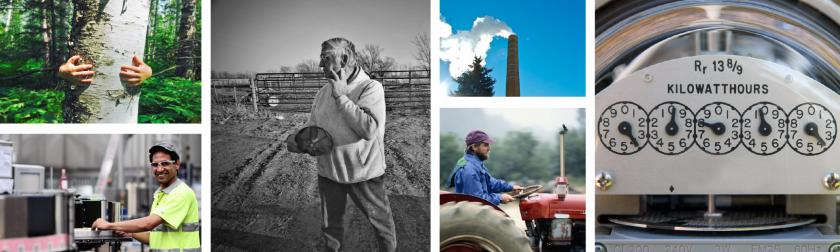 People, smokestack, farmer, child collage