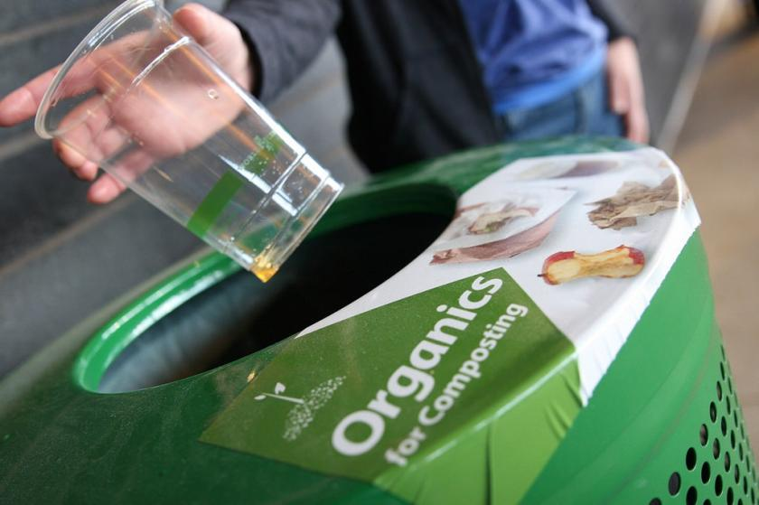 You can recycle organics, paper, cardboard, cans, bottles, plastics in the Eco Experience.