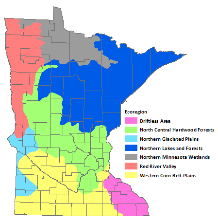 Minnesota has 7 ecoregions