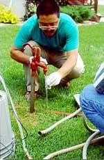 Collecting a ground-water sample from a private household well