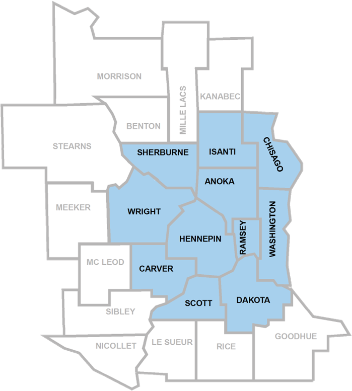 11-county metropolitan area: Anoka, Carver, Chisago, Dakota, Hennepin, Isanti, Ramsey, Scott, Sherburne, Washington, and Wright