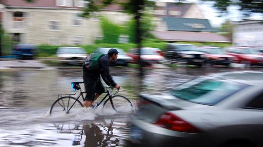 flooded-street with biker