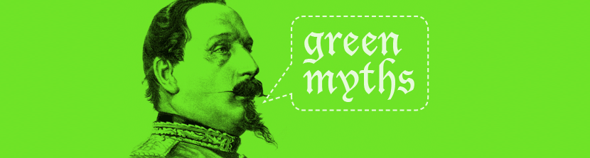 "etching of military leader with speech bubble saying ""Green myths"""