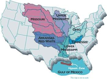 Map of the United States showing water basins flowing into hypoxia area in the gulf of Mexico