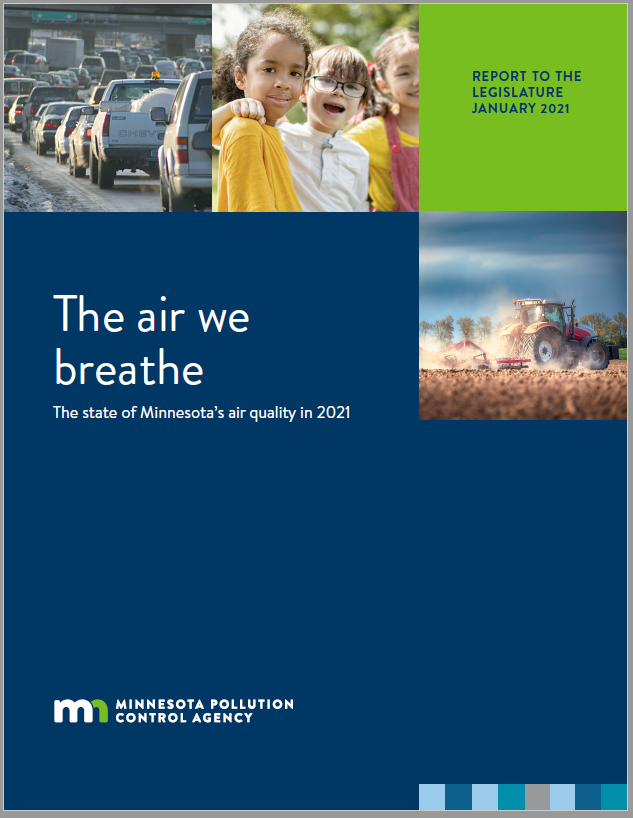 """Cover of """"The air we breathe"""" showing sources of air pollution, like automobiles and agricultural equipment, and those affected"""
