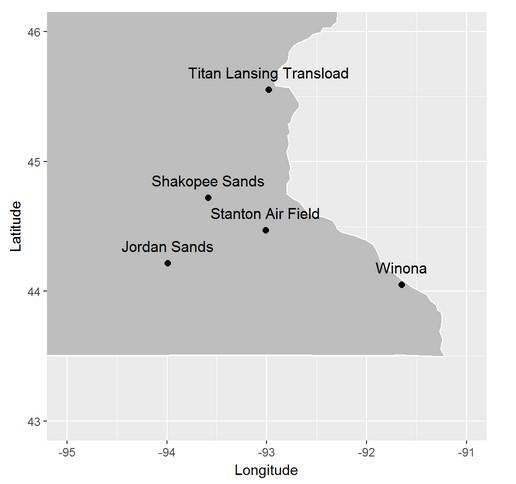 Map of silica sand sites