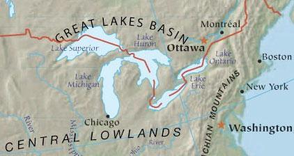 Map of the Great Lakes Area