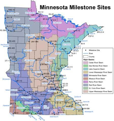Minnesota Milestone River Monitoring Sites Minnesota Pollution - Minnesota in the us map