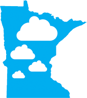minnesota shape with clouds