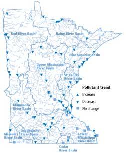 Decreases in fecal coliform bacteria have been experienced throughout Minnesota.