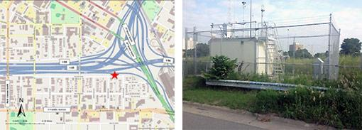 Map of near-road monitoring site located along the I-94 and I-35W freeway commons near Downtown Minneapolis, and a photo of the monitoring station.