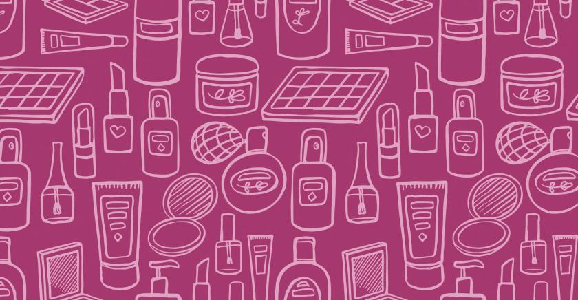 Illustration of cosmetics, lotions, etc.