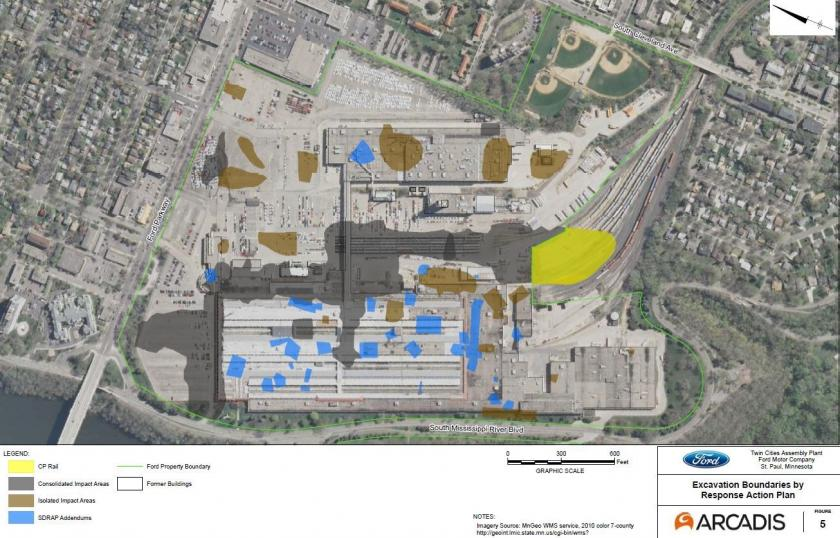 Map showing contaminated soil at the Ford Plant