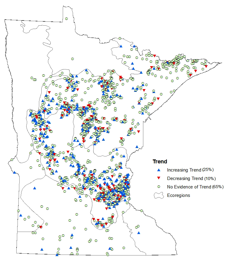 Map showing transparency trends for monitored lakes and streams in Minnesota