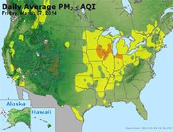 map of fine particle  concentrations for March 7, 2014, on an AQI scale
