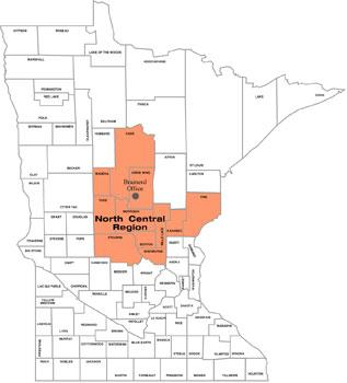 Map of Counties served by Brainerd Office