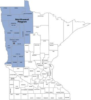Map of counties served by Detroit Lakes Office