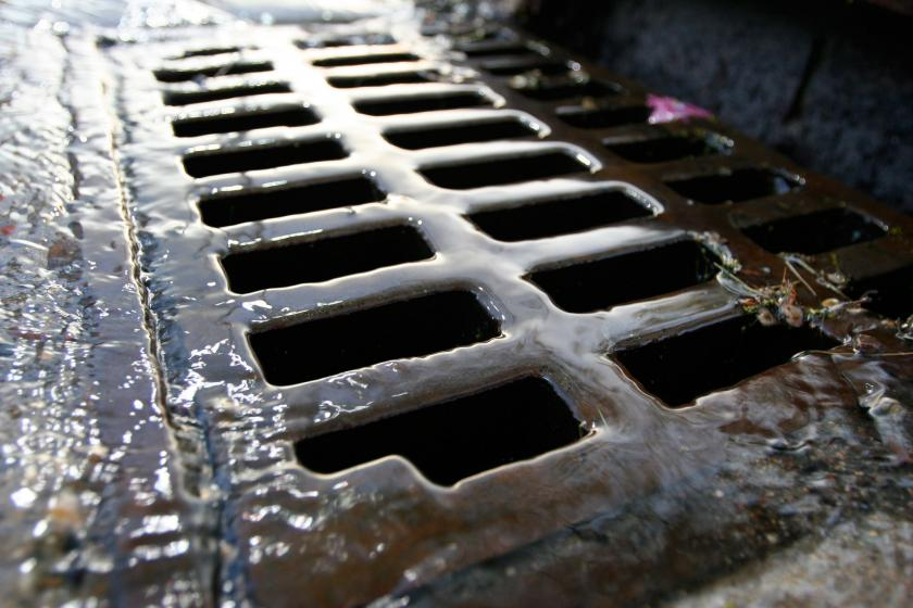 Stormdrain with water flowing