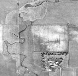 1938 Aerial image of an Unnamed creek Southwest of Worthington, MN
