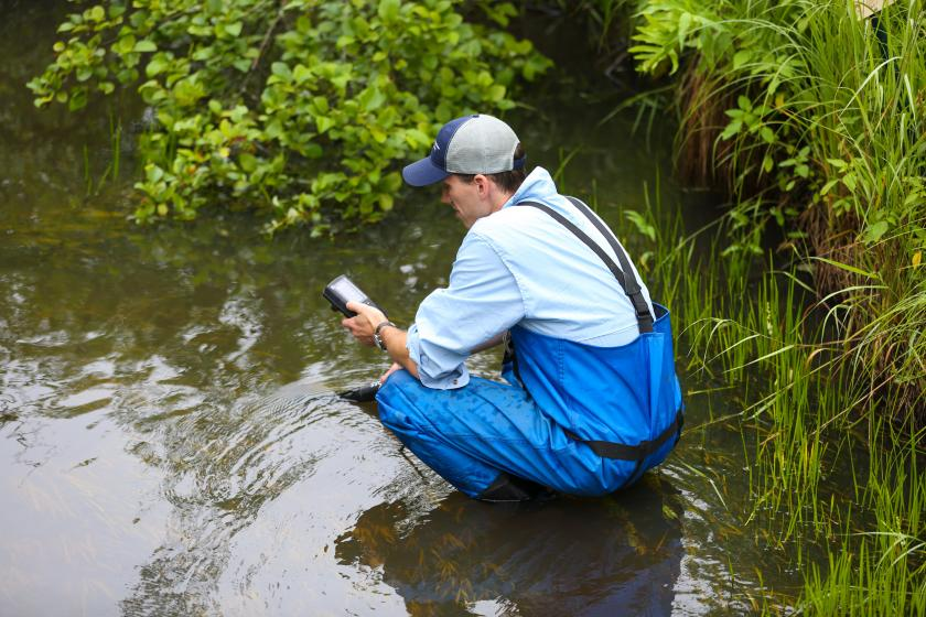 Field staff using a device to measure oxygen levels in the water