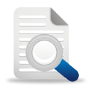 Text search icon magnifying glass over paper